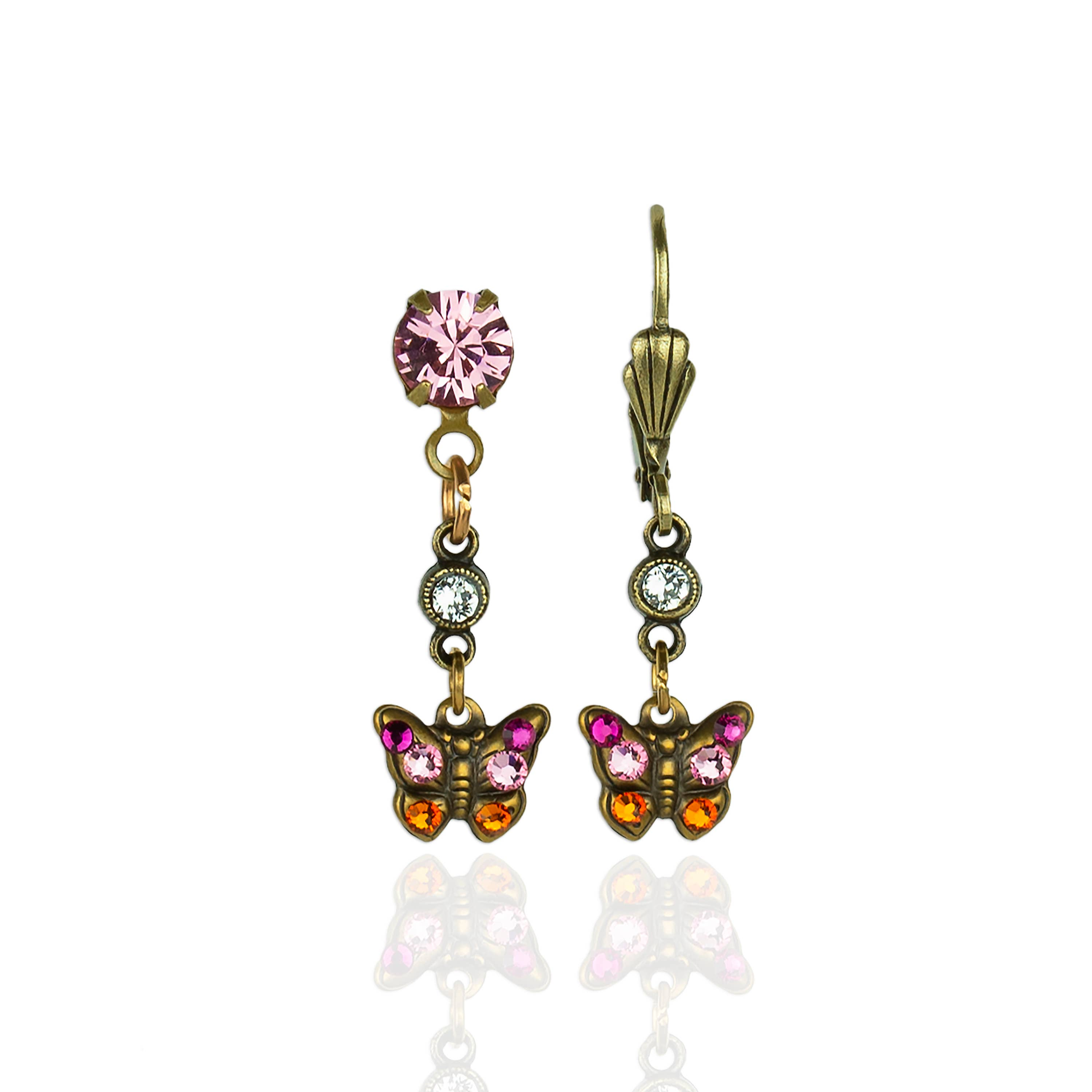 Woodland Companions  Crystal Butterfly Earrings