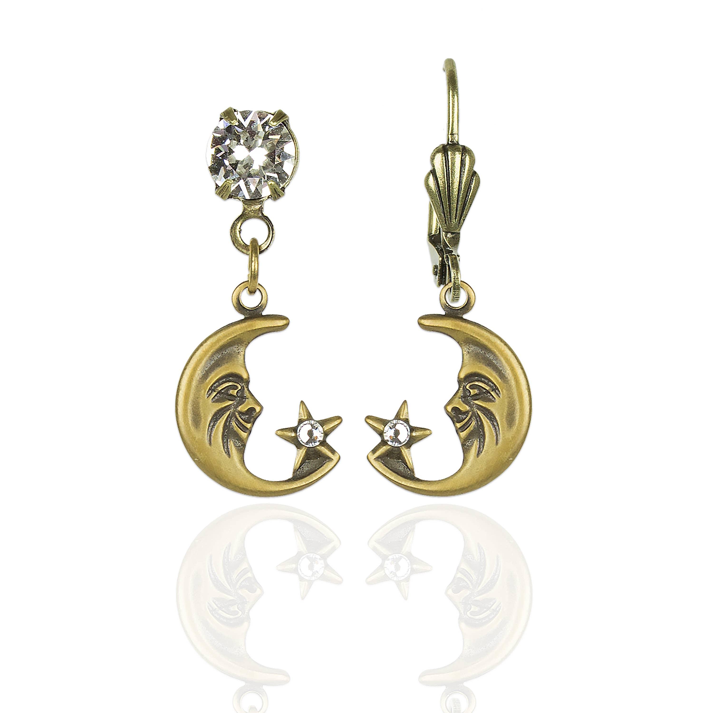 Lyra Crystal Moon and Stars Earrings