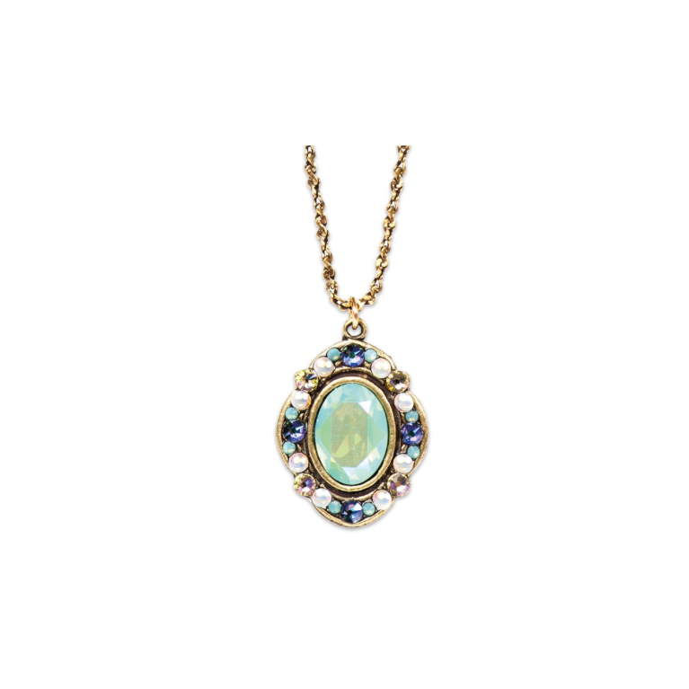 Pacific Opal Victorian Style Pendant (Antique Gold) | Anne Koplik Designs Jewelry | Handmade in America with Crystals from Swarovski®