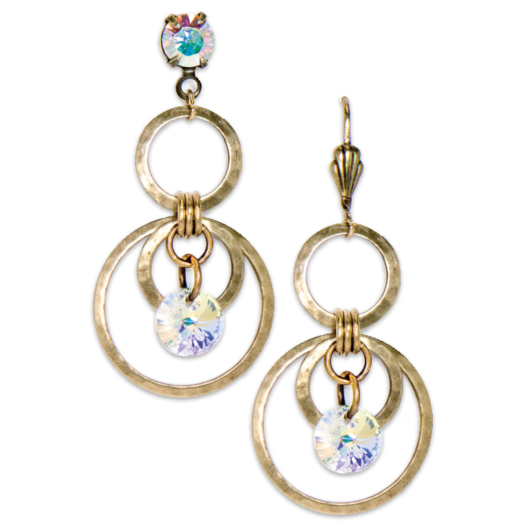 Modern Gold Circle Earring - Long | Anne Koplik Designs Jewelry | Handmade in America with Crystals from Swarovski®
