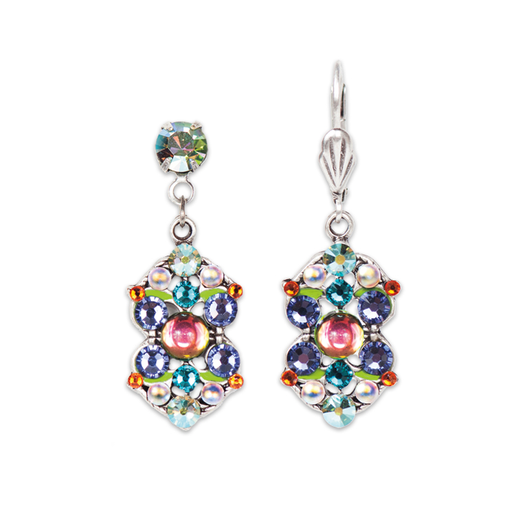 Multi-Colored Art Deco Style Double Triangle Earring | Anne Koplik Designs Jewelry | Handmade in America with Crystals from Swarovski®