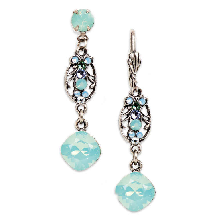 Pacific Opal Victorian Style Earring (Silver) | Anne Koplik Designs Jewelry | Handmade in America with Crystals from Swarovski®