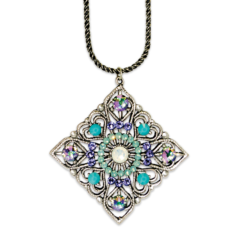 White Opal Art Deco Inspired Pendant | Anne Koplik Designs Jewelry | Handmade in America with Crystals from Swarovski®