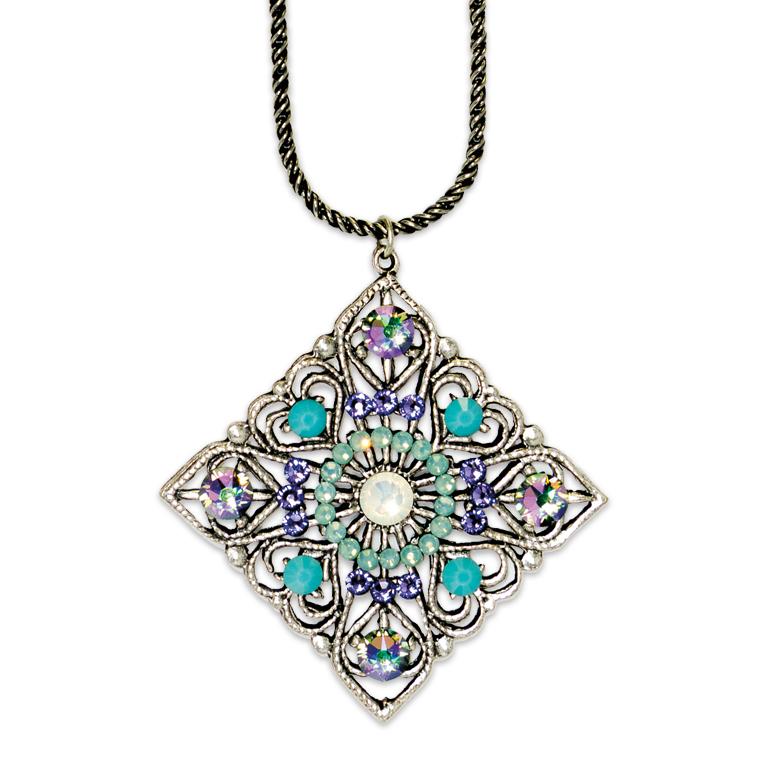 White Opal Art Deco Inspired Pendant   Anne Koplik Designs Jewelry   Handmade in America with Crystals from Swarovski®