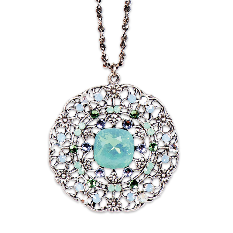 Pacific Opal Victorian Style Pendant (Silver) | Anne Koplik Designs Jewelry | Handmade in America with Crystals from Swarovski®