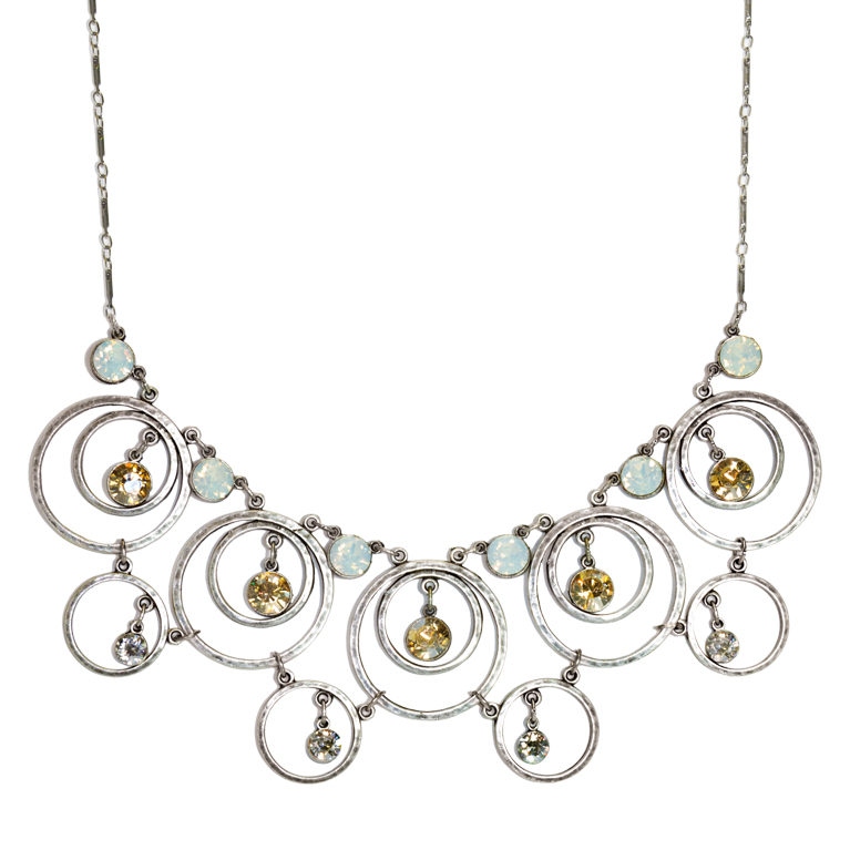 Contemporary Silver Circle Statement Necklace |Anne Koplik Designs Jewelry | Handmade in America with Crystals from Swarovski®