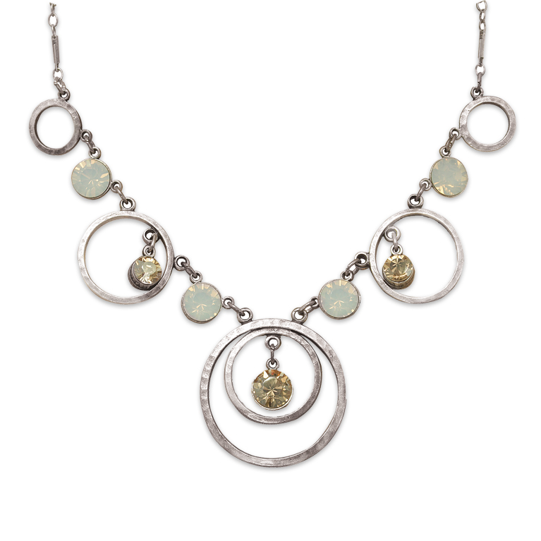 Single Circle Silver Necklace | Anne Koplik Designs Jewelry | Handmade in America with Crystals from Swarovski®