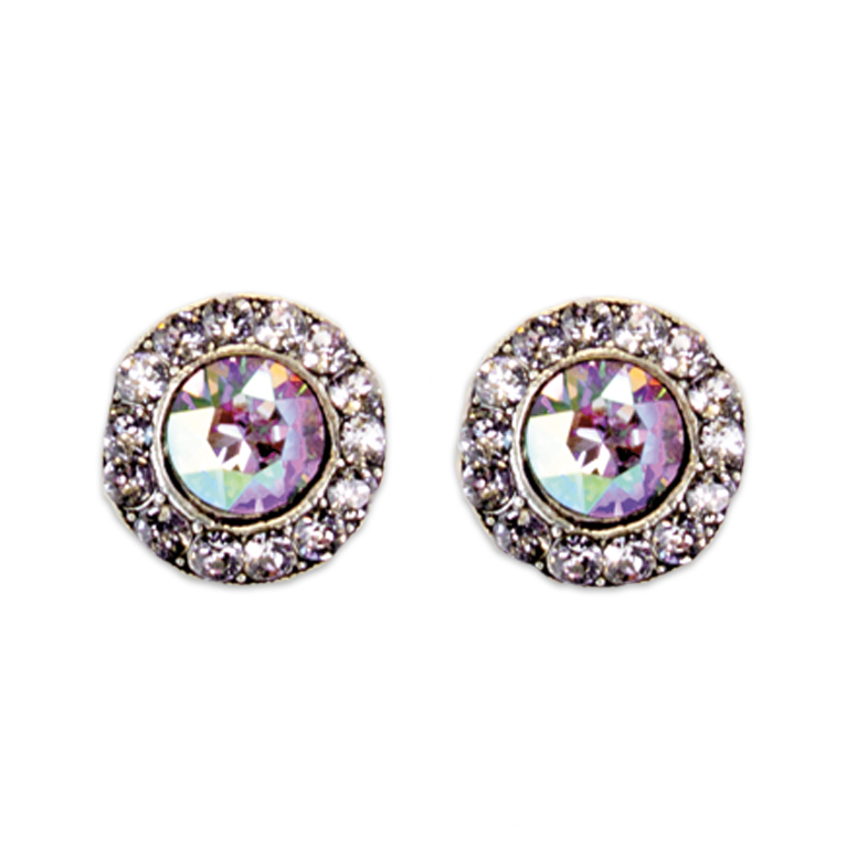 Smokey Mauve Amethyst Stud Earrings | Anne Koplik Designs Jewelry | Handmade in America with Crystals from Swarovski®
