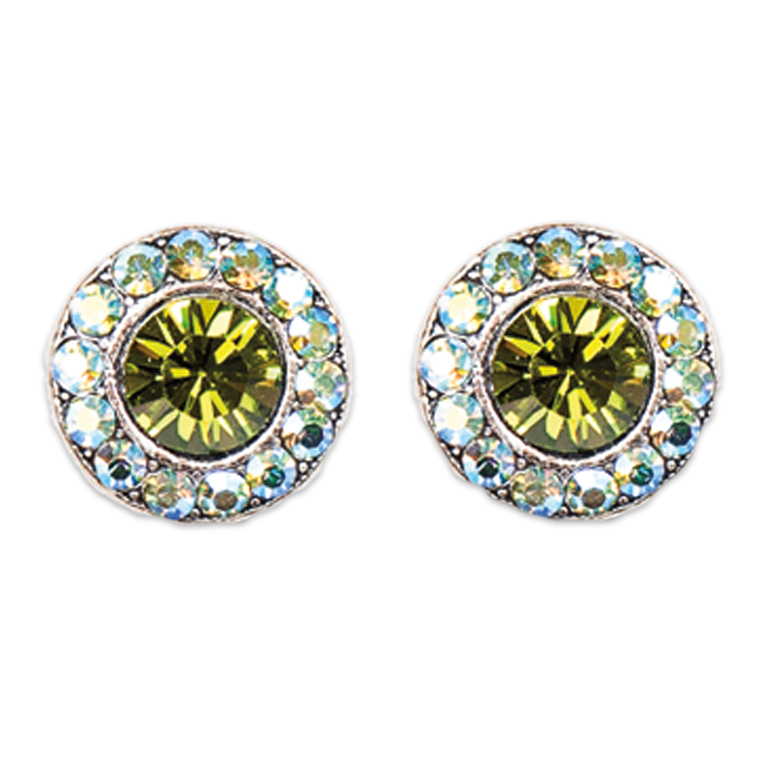 Olivine Peridot Stud Earrings | Anne Koplik Designs Jewelry | Handmade in America with Crystals from Swarovski®