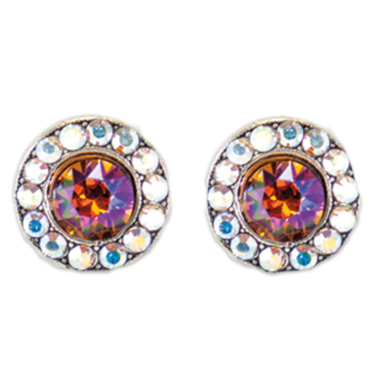 Tangerine Glacier Stud Earrings | Anne Koplik Designs Jewelry | Handmade in America with Crystals from Swarovski®