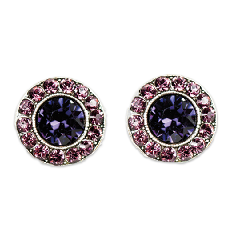 Purple Amethyst Stud Earrings | Anne Koplik Designs Jewelry | Handmade in America with Crystals from Swarovski®