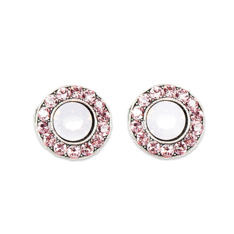 Light Rose Stud Earrings | Anne Koplik Designs Jewelry | Handmade in America with Crystals from Swarovski®