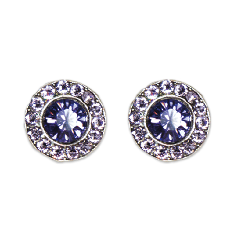 Violet Tanzanite Stud Earrings | Anne Koplik Designs Jewelry | Handmade in America with Crystals from Swarovski®