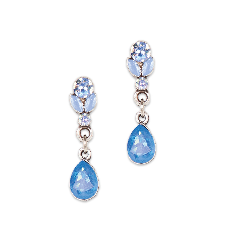 Dreaming in Nouveau Blue Earrings | Anne Koplik Designs Jewelry | Handmade in America with Crystals from Swarovski®