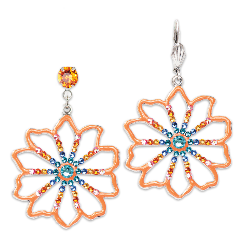 Art Nouveau Tangerine Flower Earrings | Anne Koplik Designs Jewelry | Handmade in America with Crystals from Swarovski®