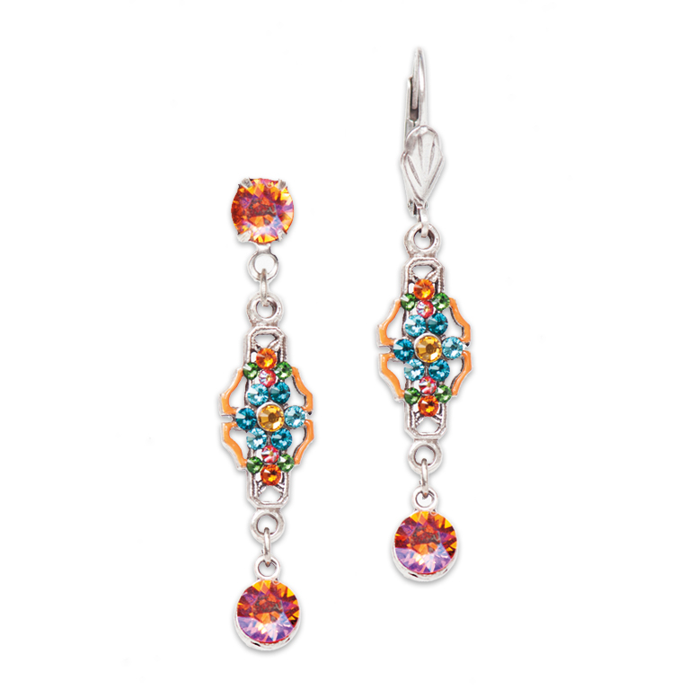 Tangerine Art Deco Inspired Earring | Anne Koplik Designs Jewelry | Handmade in America with Crystals from Swarovski®