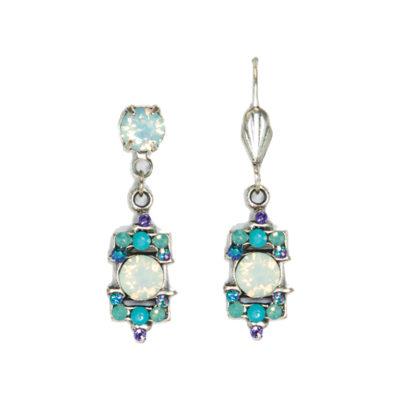 White Opal Art Deco Inspired Earring   Anne Koplik Designs Jewelry   Handmade in America with Crystals from Swarovski®