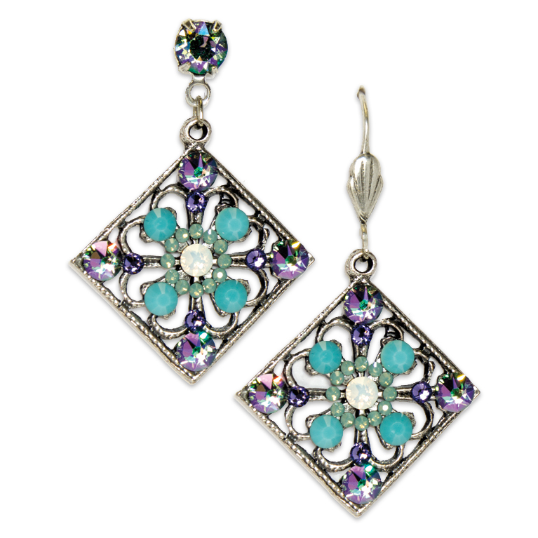 White Opal Art Deco Inspired Square Earring | Anne Koplik Designs Jewelry | Handmade in America with Crystals from Swarovski®