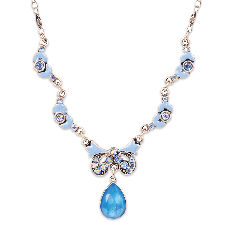 Dreaming in Nouveau Blue Necklace | Anne Koplik Designs Jewelry | Handmade in America with Crystals from Swarovski®