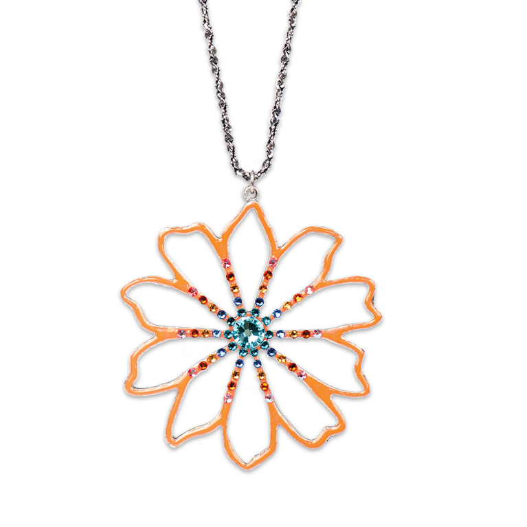 Art Nouveau Tangerine Flower Necklace | Anne Koplik Designs Jewelry | Handmade in America with Crystals from Swarovski®