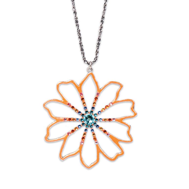 Art Nouveau Tangerine Flower Necklace   Anne Koplik Designs Jewelry   Handmade in America with Crystals from Swarovski®