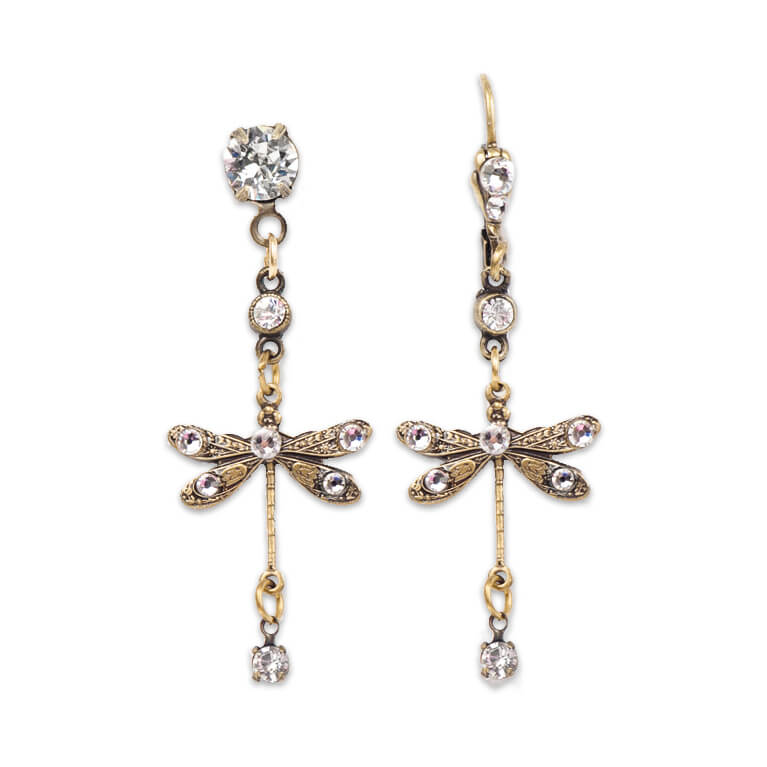 Bronze Plated Imagine Dragonfly Crystal Charm Earrings |Anne Koplik Designs Jewelry | Handmade in America with Crystals from Swarovski®