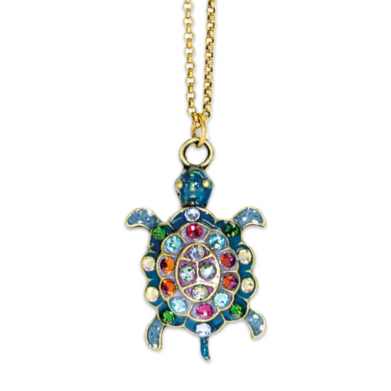 Multicolored Magical Turtle Pendant Necklace | Anne Koplik Designs Jewelry | Handmade in America with Crystals from Swarovski®