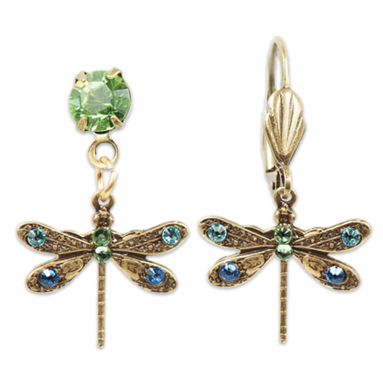 Bronze Plated Multicolored Dragonfly Dream Earrings | Anne Koplik Designs Jewelry | Handmade in America with Crystals from Swarovski®