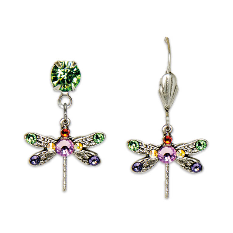 Silver Plated Multicolored Lucky Dragonfly Earrings | Anne Koplik Designs