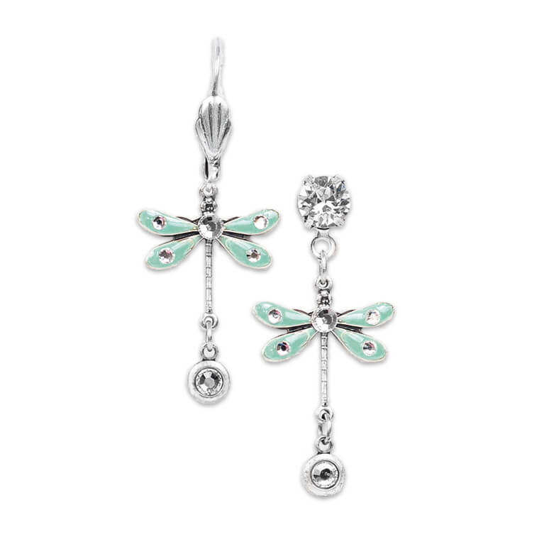 Silver Aqua Dragonfly Earrings with Crystals | Anne Koplik Designs