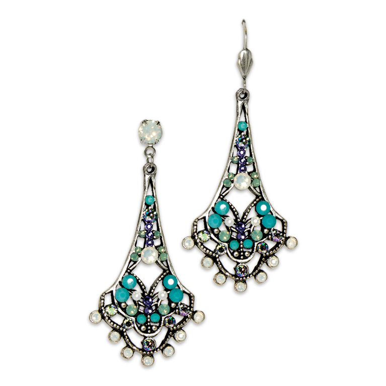 White Opal Belle Epoch Earrings | Anne Koplik Designs Jewelry | Handmade in America with Crystals from Swarovski®