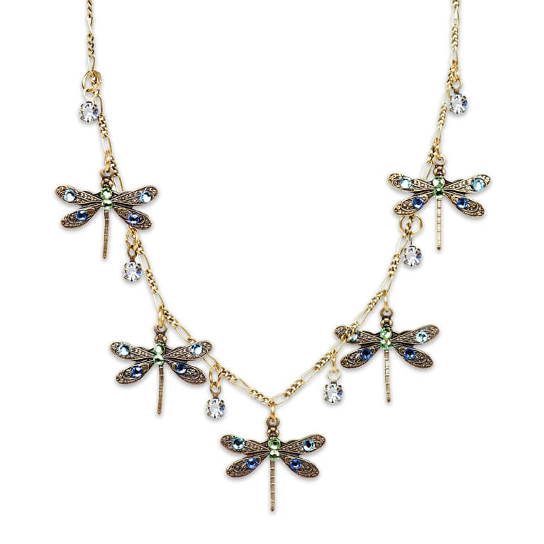 Bronze Plated Multicolored Dragonfly Dream Necklace | Anne Koplik Designs