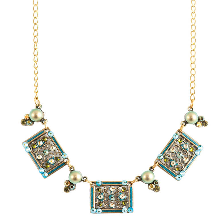 Turquoise and Iridescent Green Pearl Necklace |Anne Koplik Designs Jewelry | Handmade in America with Crystals from Swarovski®