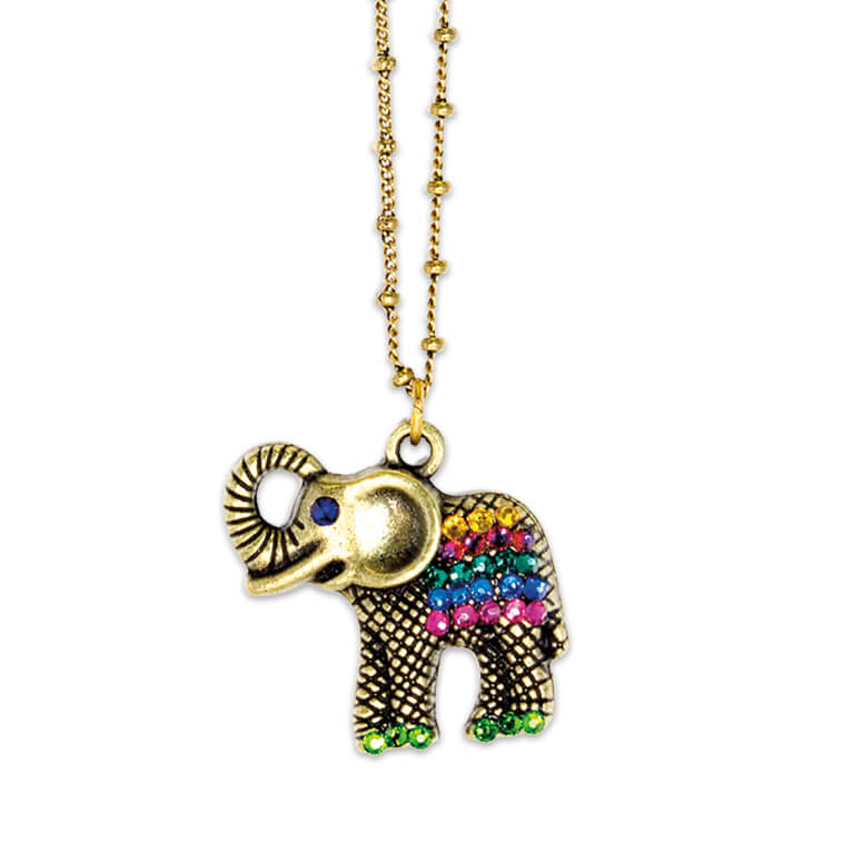 Multicolored Lucky Elephant Pendant Necklace | Anne Koplik Designs Jewelry | Handmade in America with Crystals from Swarovski®