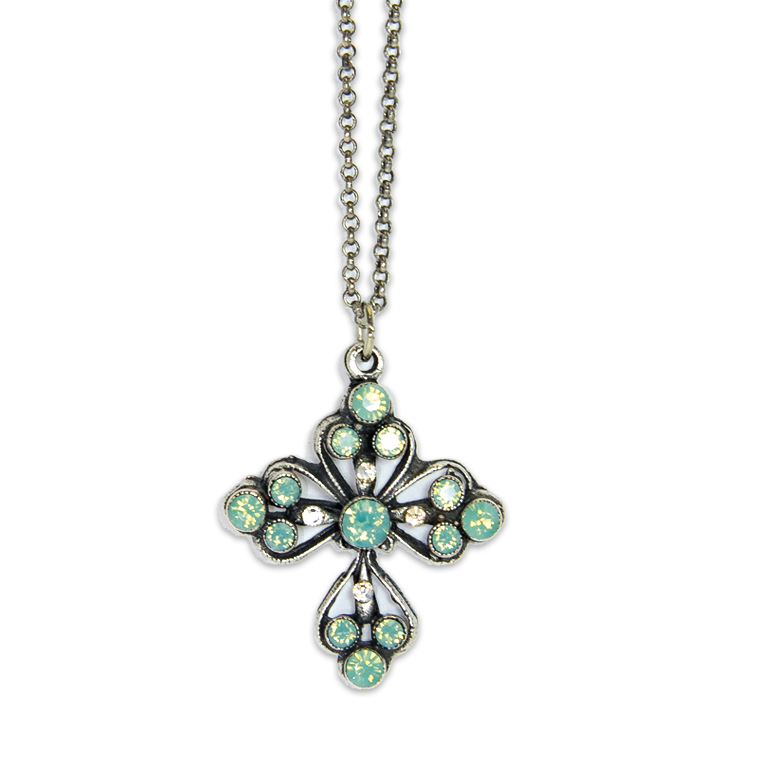 Silver Pacific Opal Cross | Anne Koplik Designs Jewelry | Handmade in America with Crystals from Swarovski®
