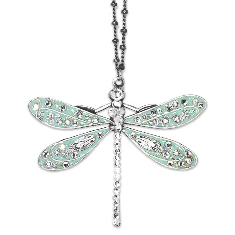 Silver Aqua Dragonfly Necklace with Crystals | Anne Koplik Designs