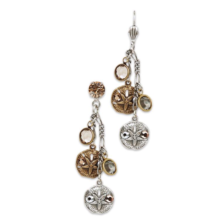 Sun & Sand Dollar Long Earrings | Anne Koplik Designs Jewelry | Handmade in America with Crystals from Swarovski®