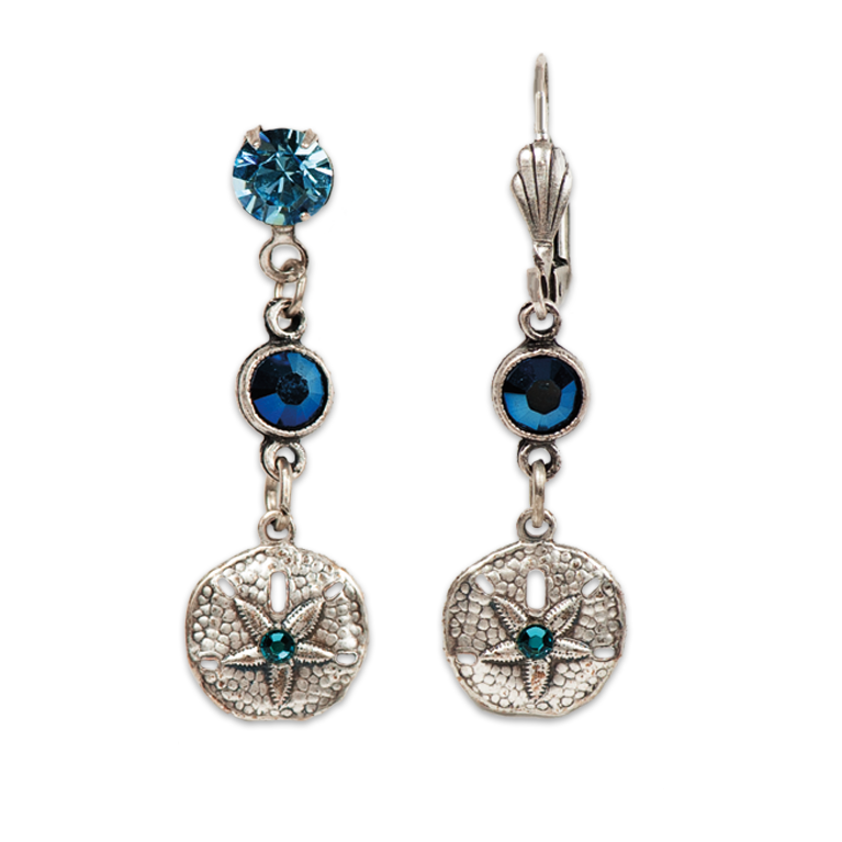 Seaside Sand Dollar Earrings |  Anne Koplik Designs Jewelry | Handmade in America with Crystals from Swarovski®