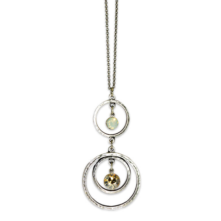 Golden Shadow & White Opal Circular Drop Pendant |Anne Koplik Designs Jewelry | Handmade in America with Crystals from Swarovski®