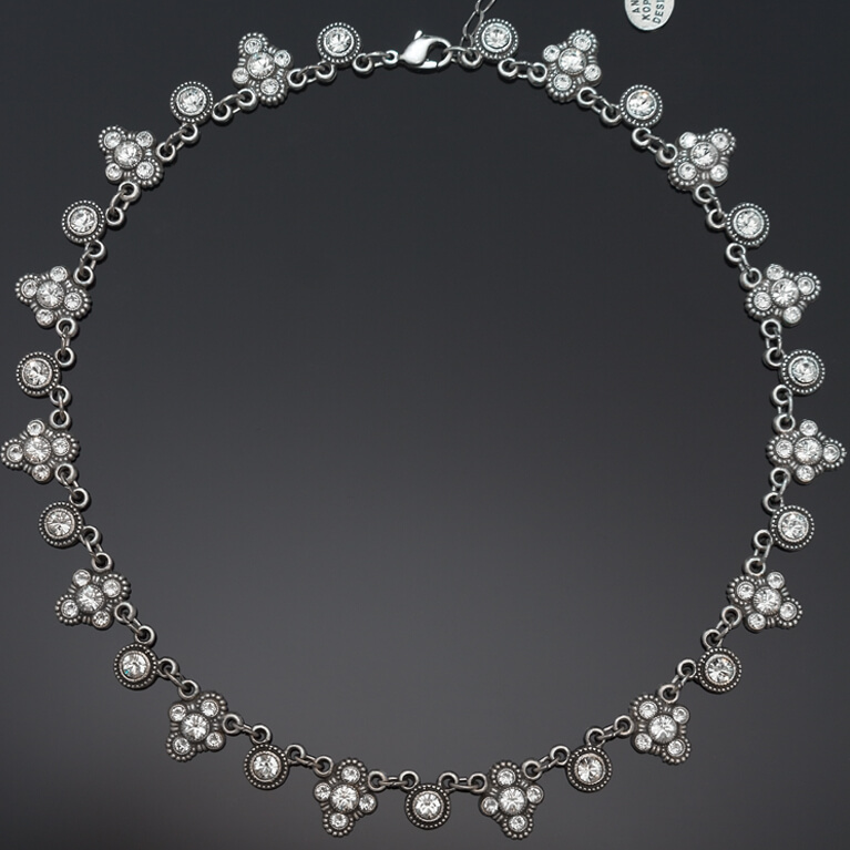 Trefoil Continuous Crystal Collar Necklace | Anne Koplik Designs Jewelry | Handmade in America with Crystals from Swarovski®