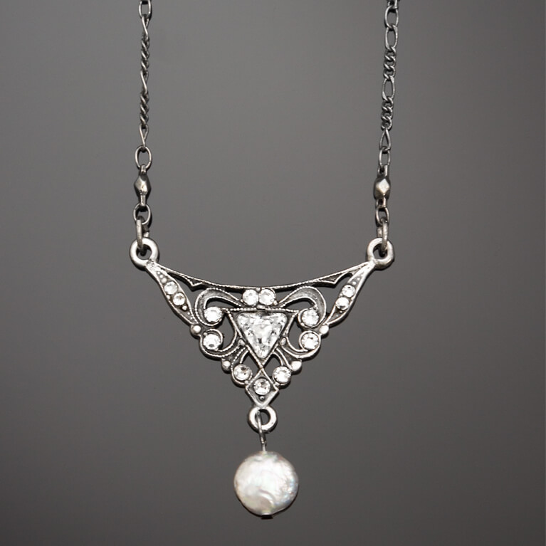 Filigree Arrow Pendant With Coin Pearl Drop | Anne Koplik Designs Jewelry | Handmade in America with Crystals from Swarovski®