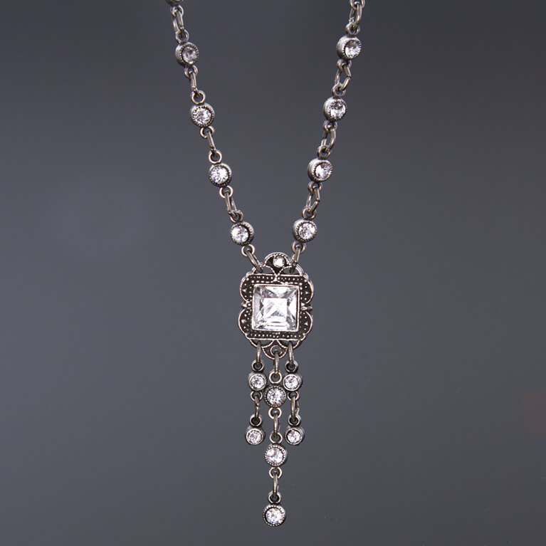 Classic Vintage Style Crystal Necklace | Anne Koplik Designs Jewelry | Handmade in America with Crystals from Swarovski®