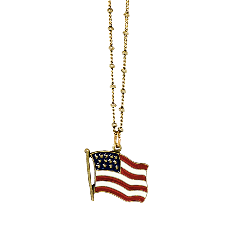 Classic American Flag Pendant | Anne Koplik Designs Jewelry | Handmade in America with Crystals from Swarovski®