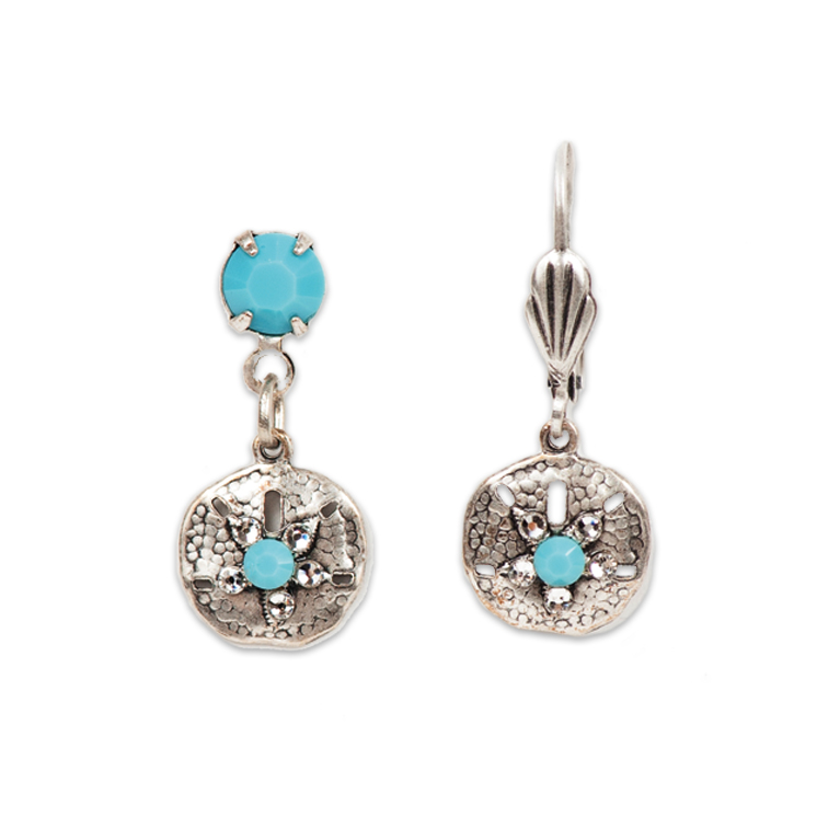 Crystal Shore Sand Dollar Short Earrings | Anne Koplik Designs Jewelry | Handmade in America with Crystals from Swarovski®