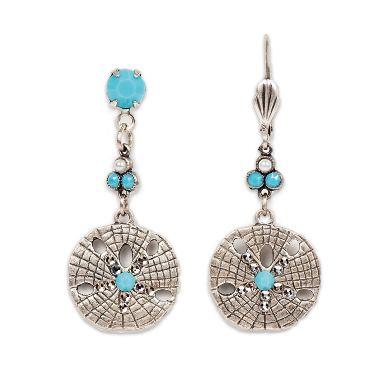 Crystal Shore Sand Dollar Long Earrings | Anne Koplik Designs Jewelry | Handmade in America with Crystals from Swarovski®