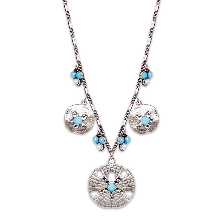 Crystal Shore Sand Dollar Necklace | Anne Koplik Designs Jewelry | Handmade in America with Crystals from Swarovski®