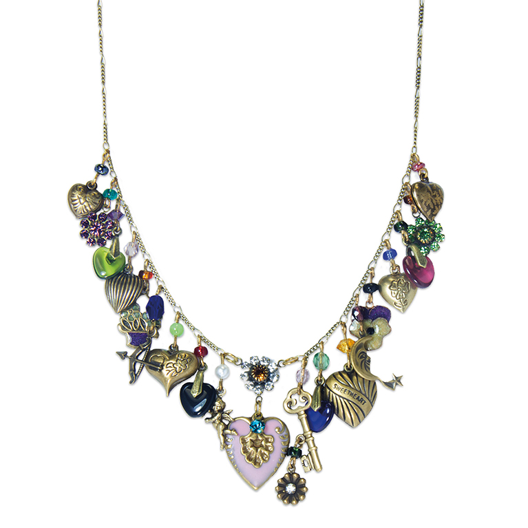Romantic Heart Charm Necklace | Anne Koplik Designs Jewelry | Handmade in America with Crystals from Swarovski®