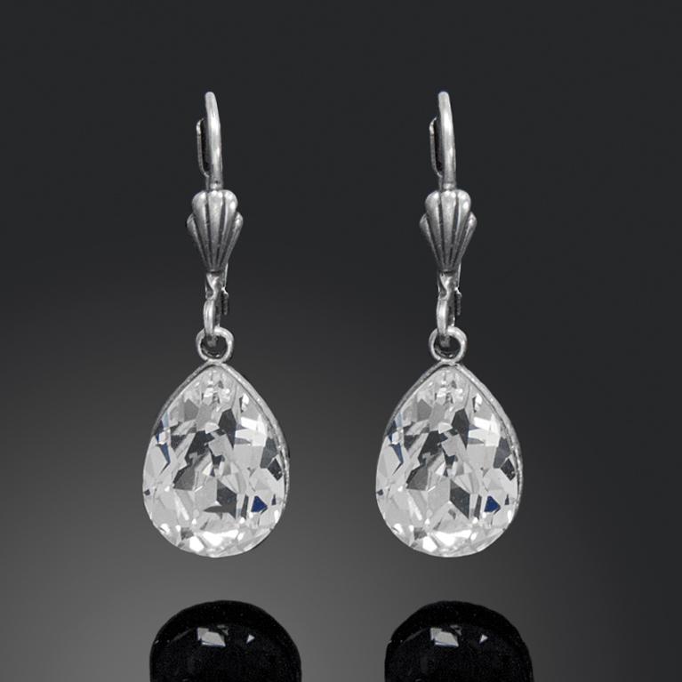 Silver Crystal Teardrop Earrings | Anne Koplik Designs Jewelry | Handmade in America with Crystals from Swarovski®
