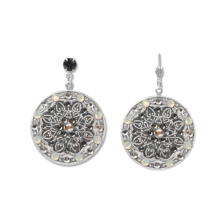 Silver Night in New York Earrings | Anne Koplik Designs Jewelry | Handmade in America with Crystals from Swarovski®