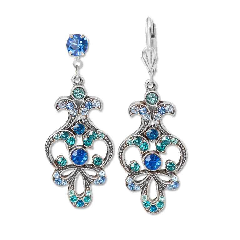 Island Blue Art Nouveau Earrings | Anne Koplik Designs
